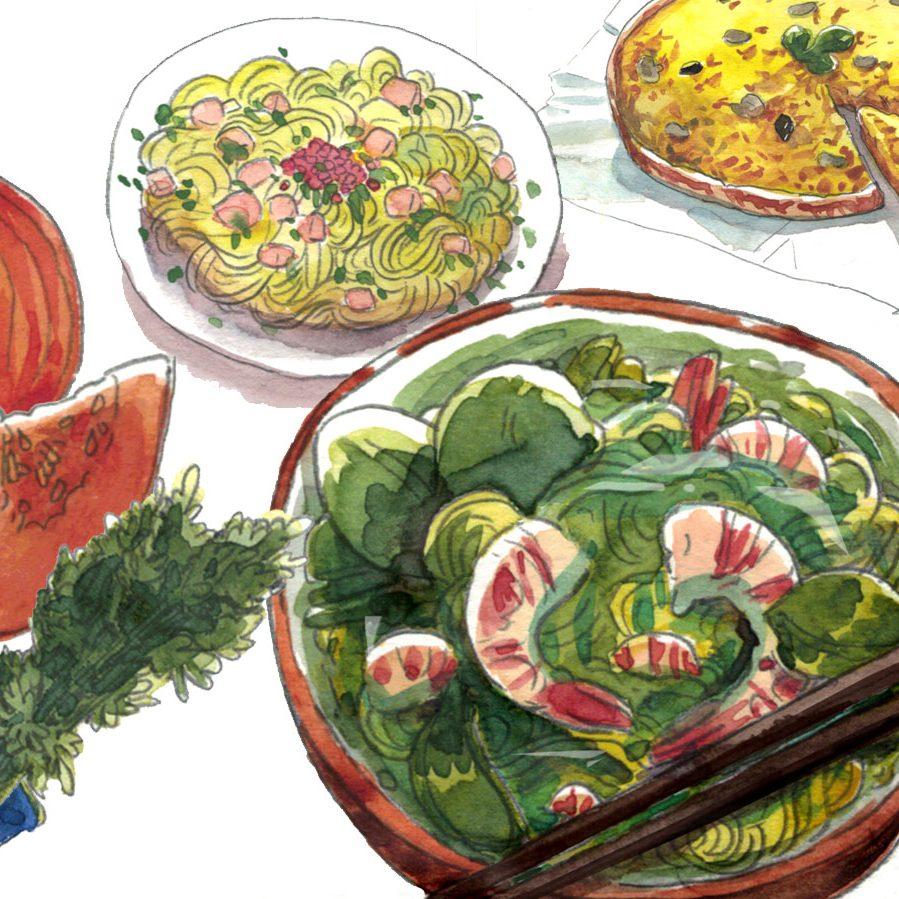 bannière du site sophienavas.fr illustration culinaire du magazine ELLE à table