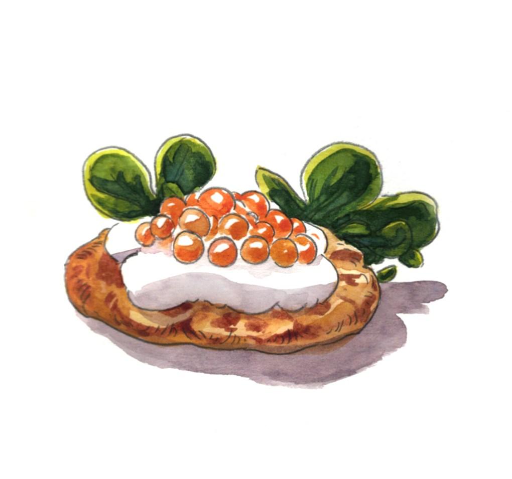 illustration culinaire à l'aquarelle pour le magazine Elle à table, représentant blini aux œufs de saumon