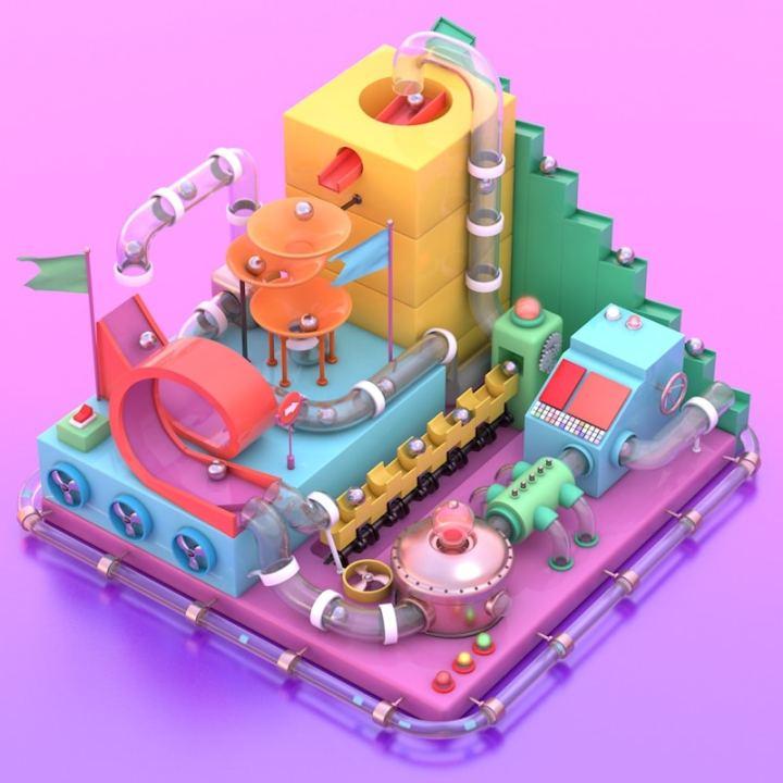 Machine 3D avec des billes en isométrie (Cinema 4D)