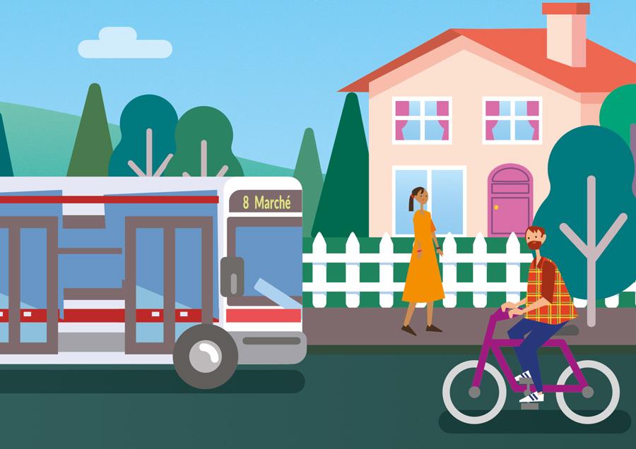 visuel d'un bus et un vélo devant une maison pour le parc naturel du pilat