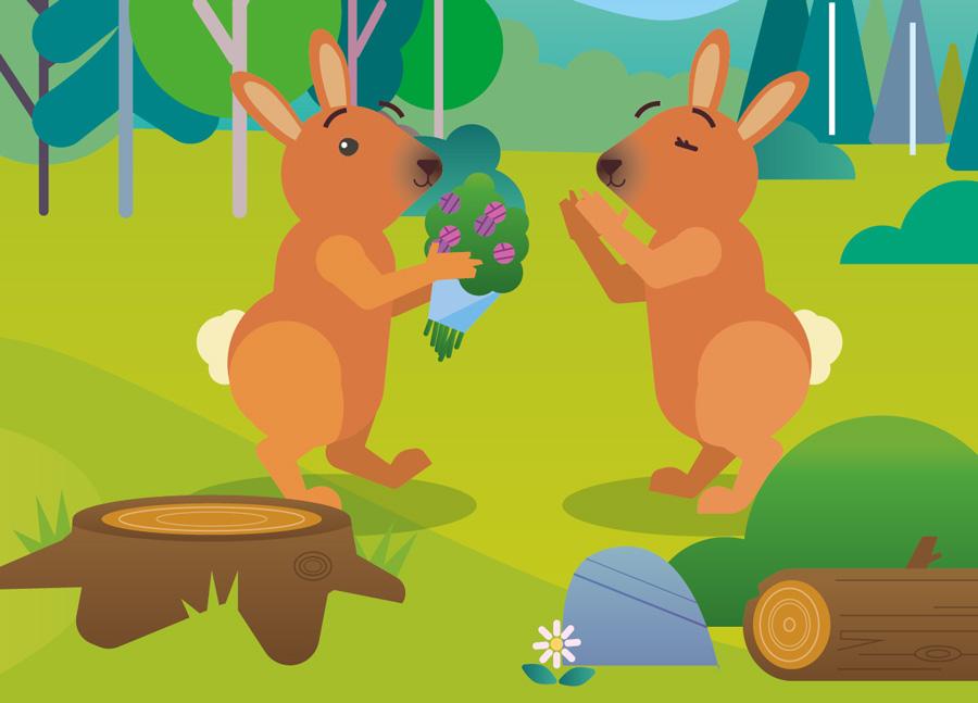 deux lapins s'offrent un bouquet de fleurs