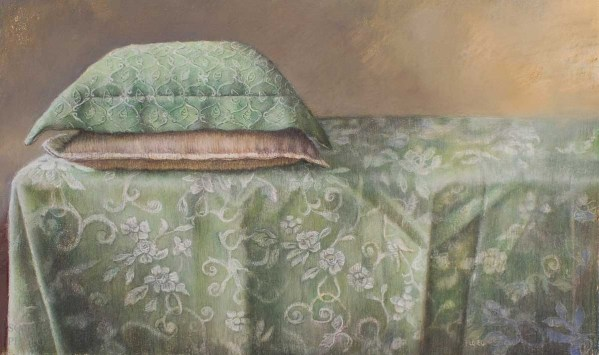 """Two Cushions, Pastel, 18x11"""" / 46x28cm, Available £1250. Currently on show at the Victoria Art Gallery in Bath"""