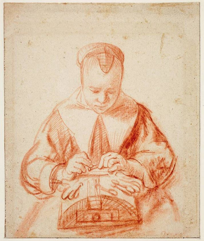 Nicolaes Maes, lace maker, drawing