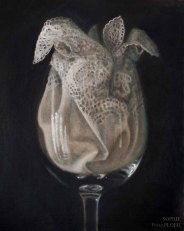 Lace in Glass,Oil on linen on board, 30x25cm. £1450. Currently on show at the Victoria Art Gallery in Bath