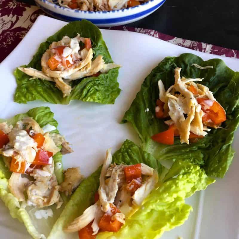 [生酮餐] Costco烤雞再利用(1)- 紅椒雞絲生菜捲