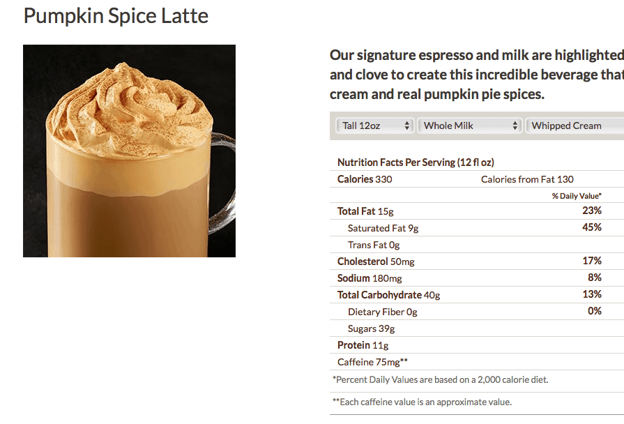 starbucks pumpkin spice latte nutrition