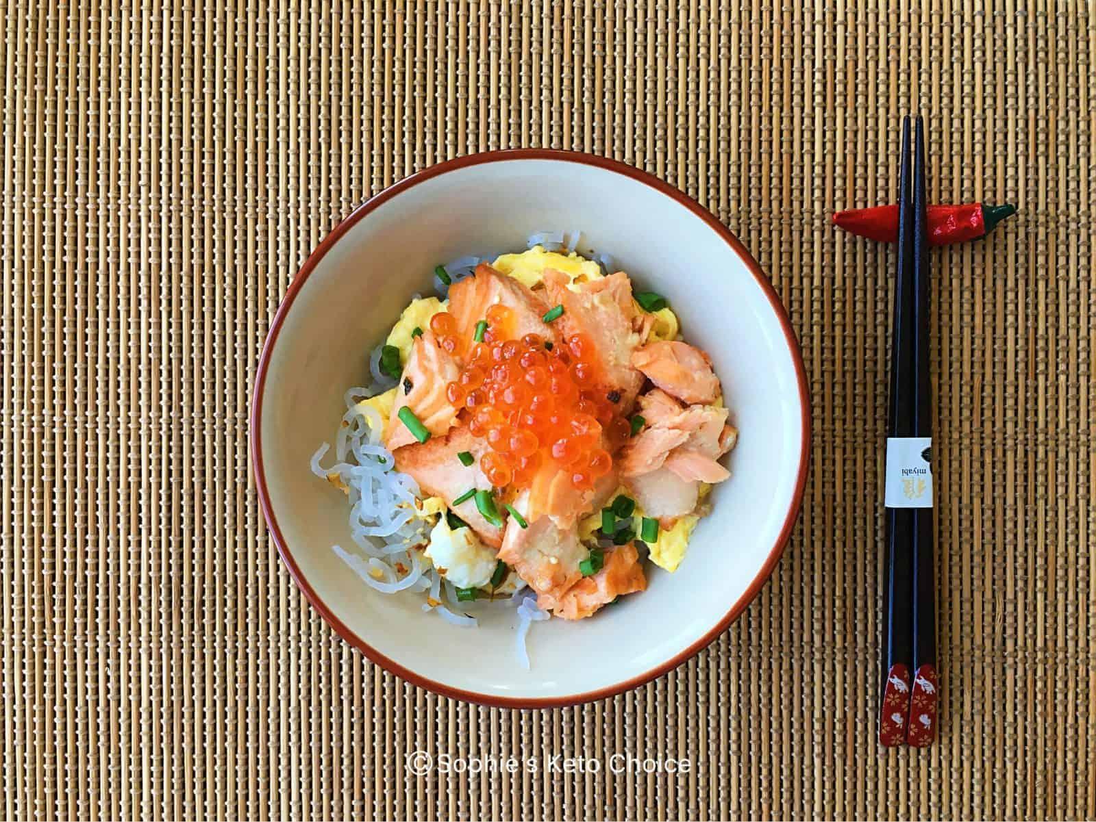 鮭魚親子蒟蒻丼