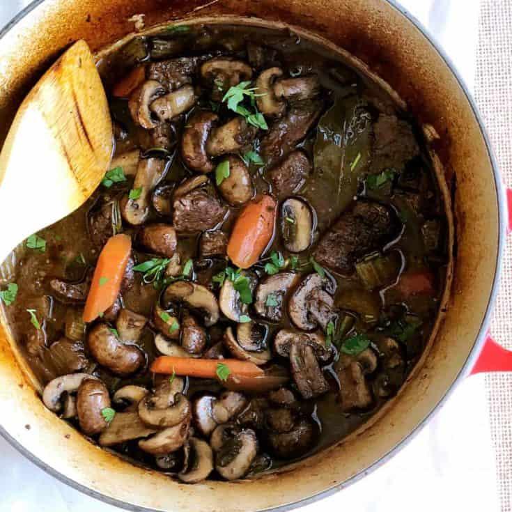 紅酒燉牛肉 Beef Bourguignon 佐金絲瓜-烤箱、壓力鍋2種做法