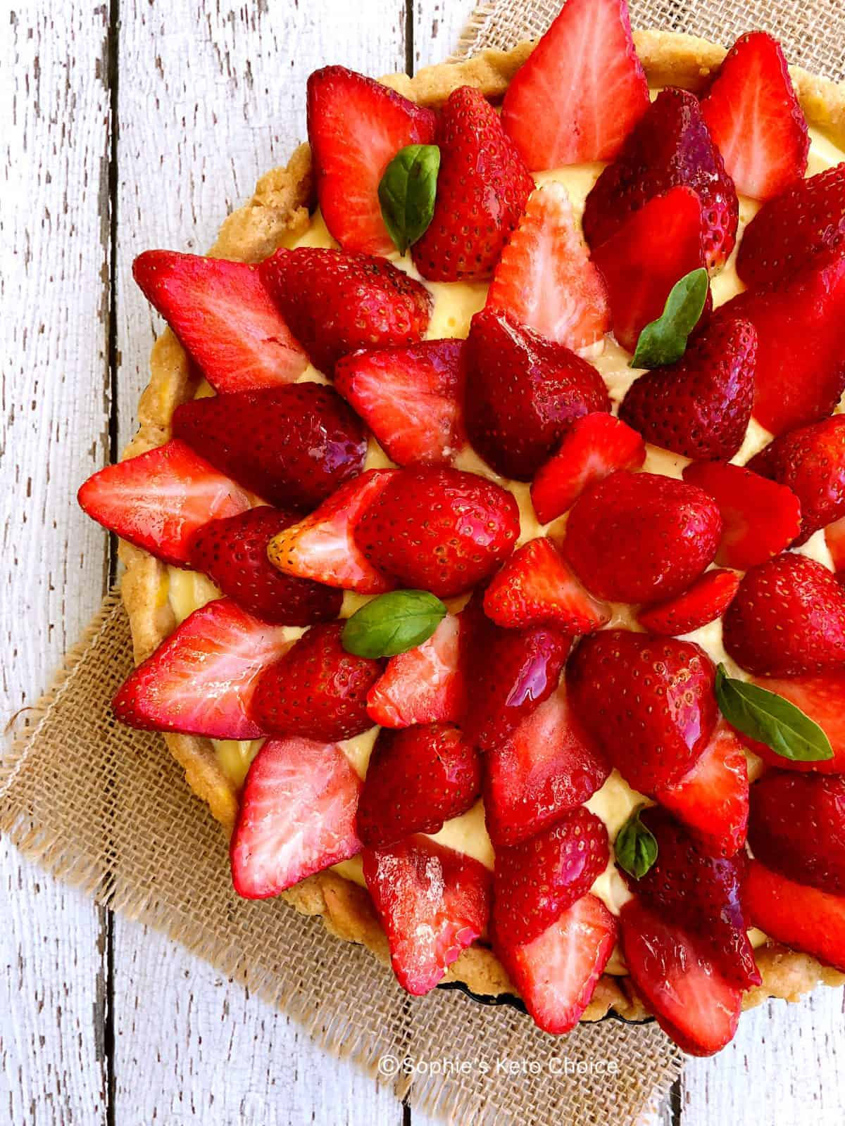低醣草莓塔 -生酮塔皮-無杏仁-剩餘蛋黃利用-草莓季必做甜點