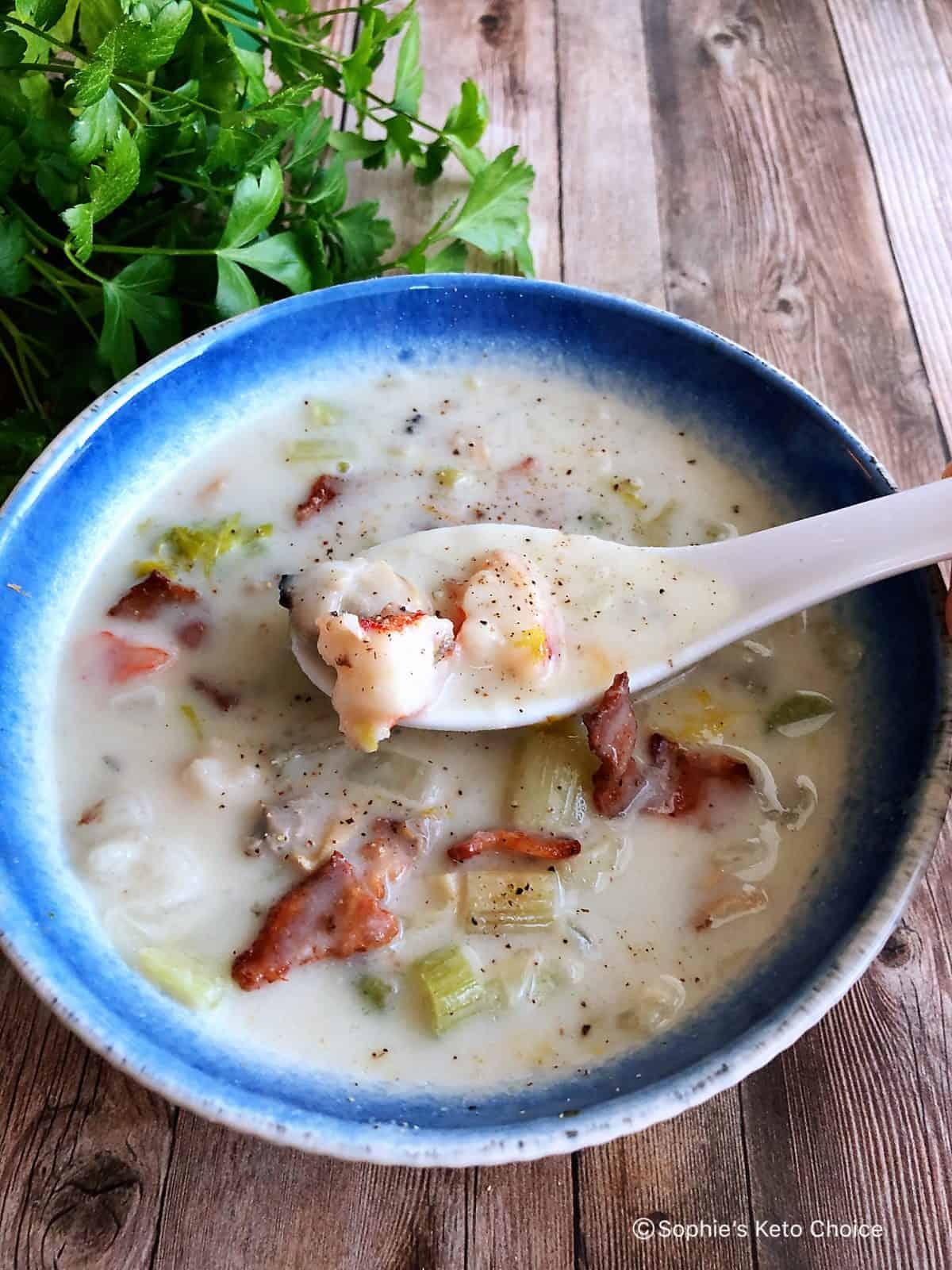 生酮海鮮巧達湯 Keto Seafood Chowder-3個撇步煮出餐廳級濃湯!無澱粉!
