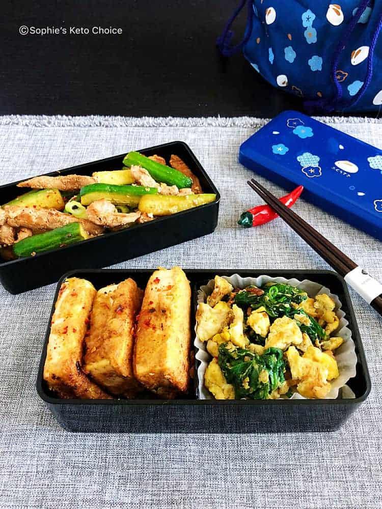 生酮便當 食譜特輯 (二)- 黃金亞麻籽鍋塌豆腐、小黃瓜炒肉絲、培根菠菜炒蛋