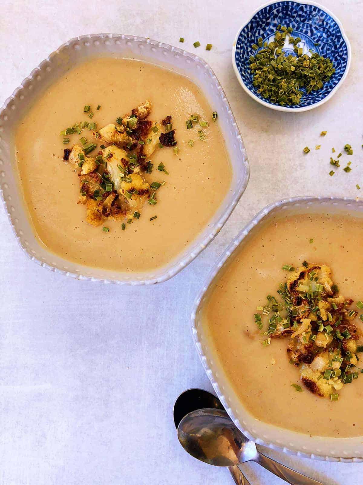 炙烤白花椰菜濃湯 -濃郁creamy-無澱粉無奶無蛋素食-去除菜味有秘訣