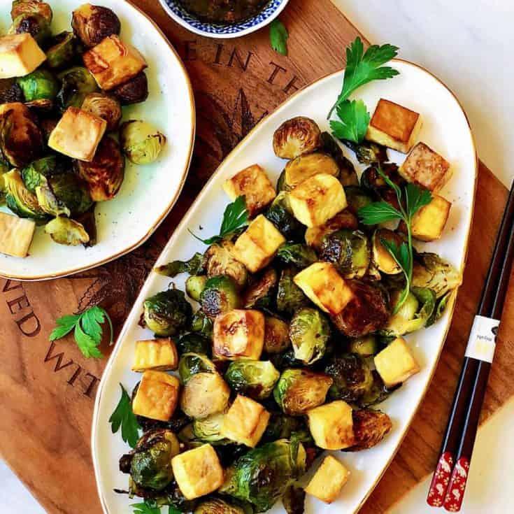 烤球芽甘藍 &烤香脆豆腐 &無糖糖醋芝麻醬-素食-一烤兩吃低醣減醣
