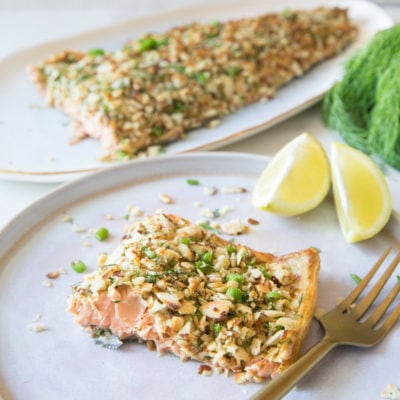 杏仁脆片烤鮭魚