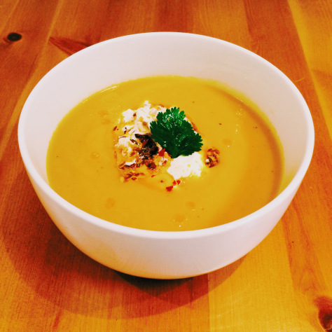 Spiced Carrot & Parsnip Soup with Chilli & Garlic Tarka