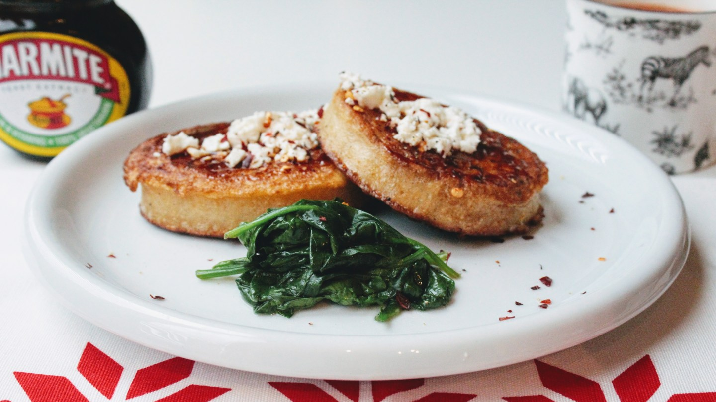 Eggie Crumpets with Marmite and Feta