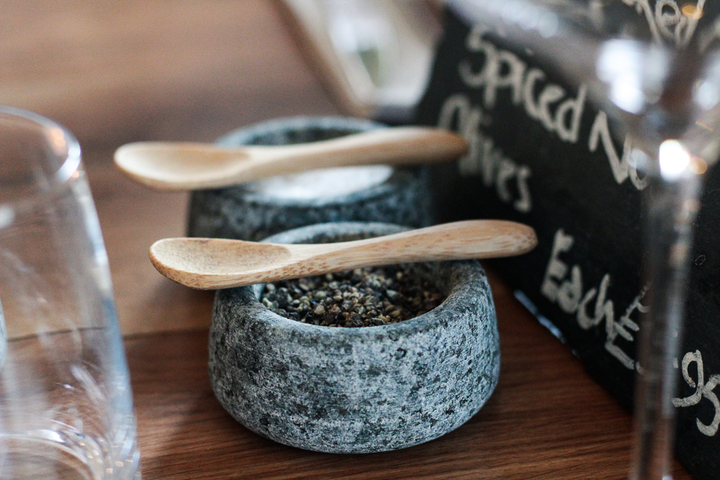 salt and pepper on the table