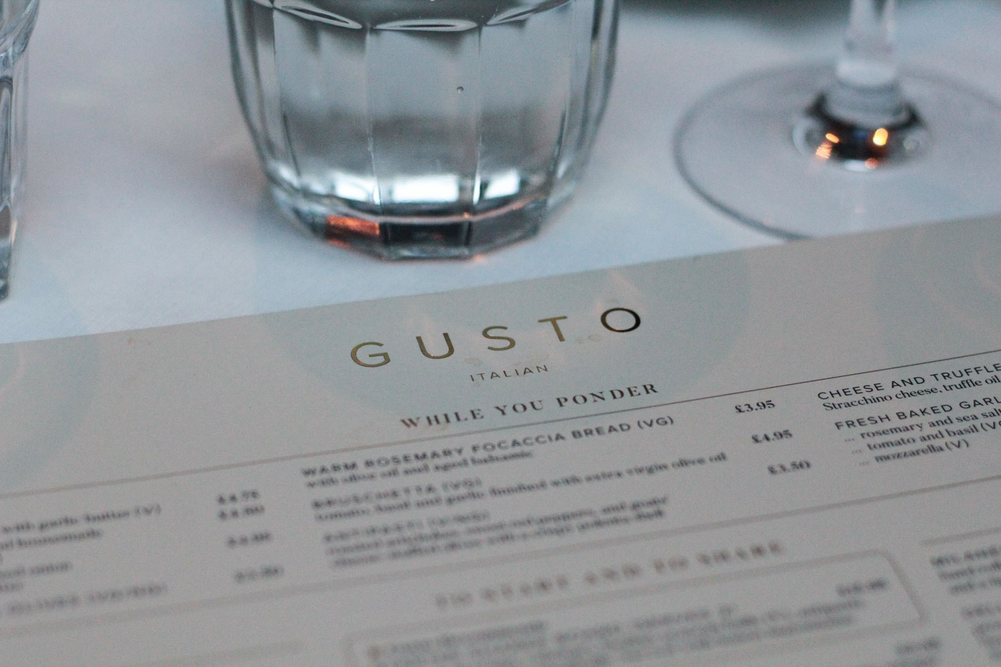 new menu at gusto - starters