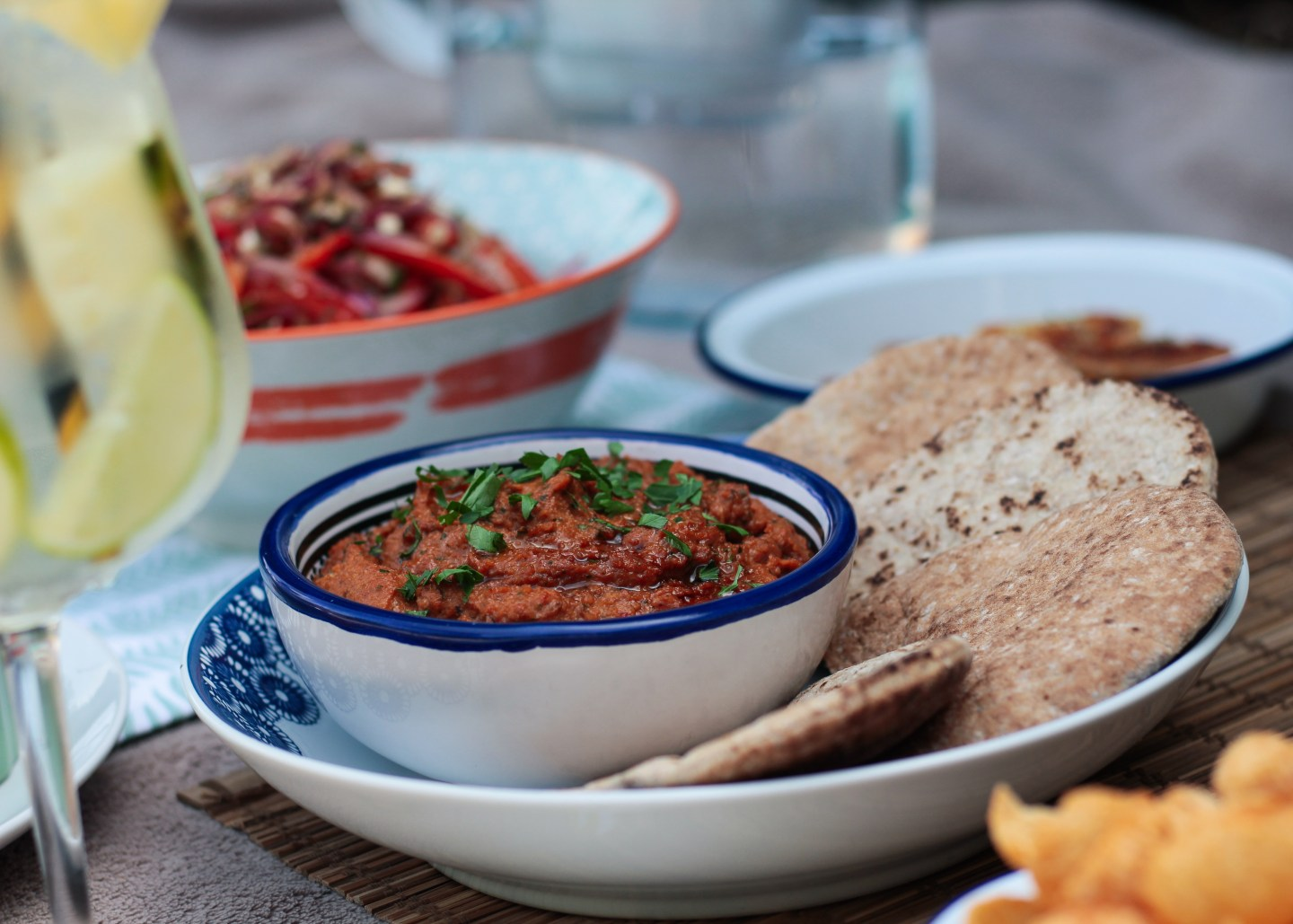 Red Pepper Dip and Feta Salad as part of a Mezze style picnic