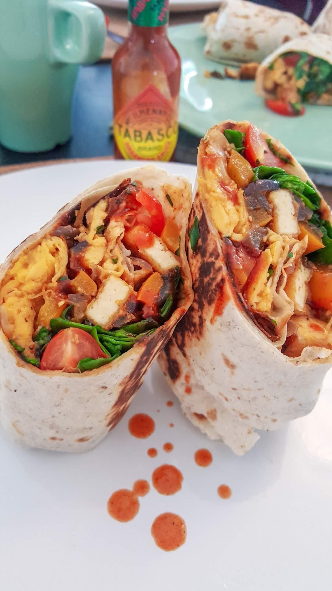 Tofu in a breakfast burrito