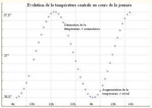 Courbe quotidienne de variation de température centrale du corps