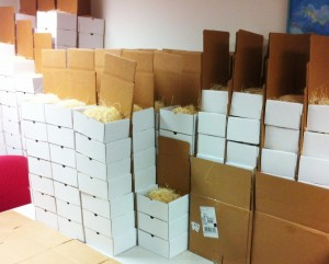 Dimensional mail packages getting prepped for shipment