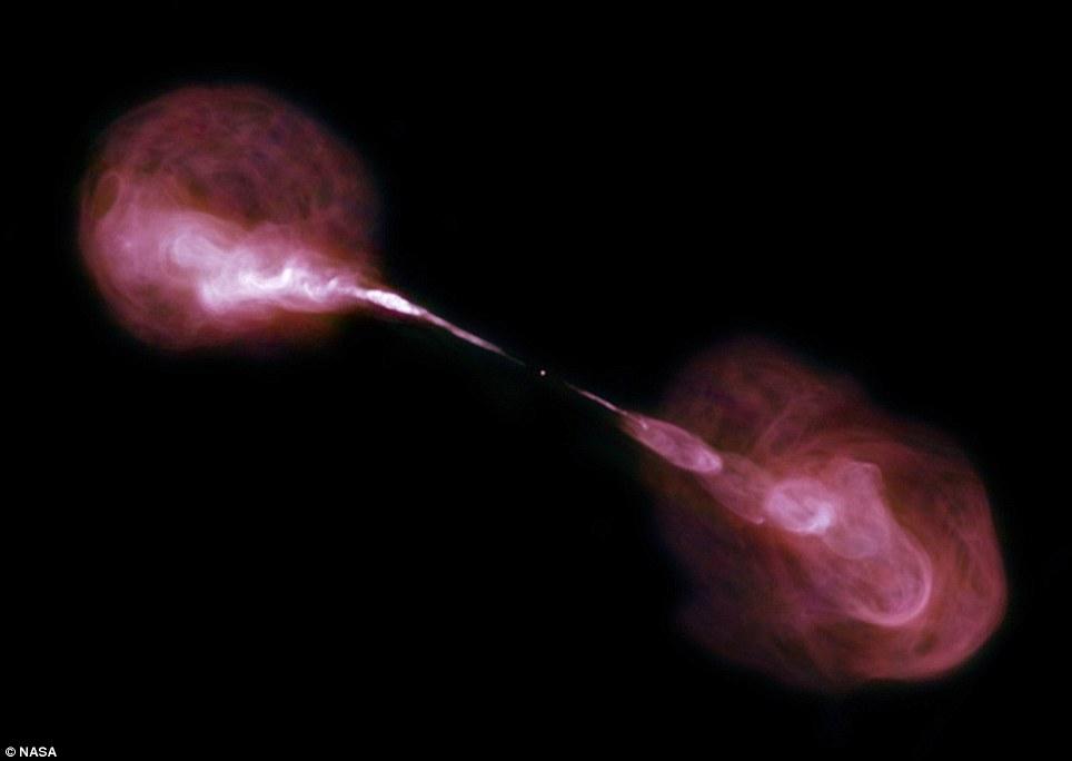 El efecto de un hoyo negro de tamaño masivo en el centro de una galaxia