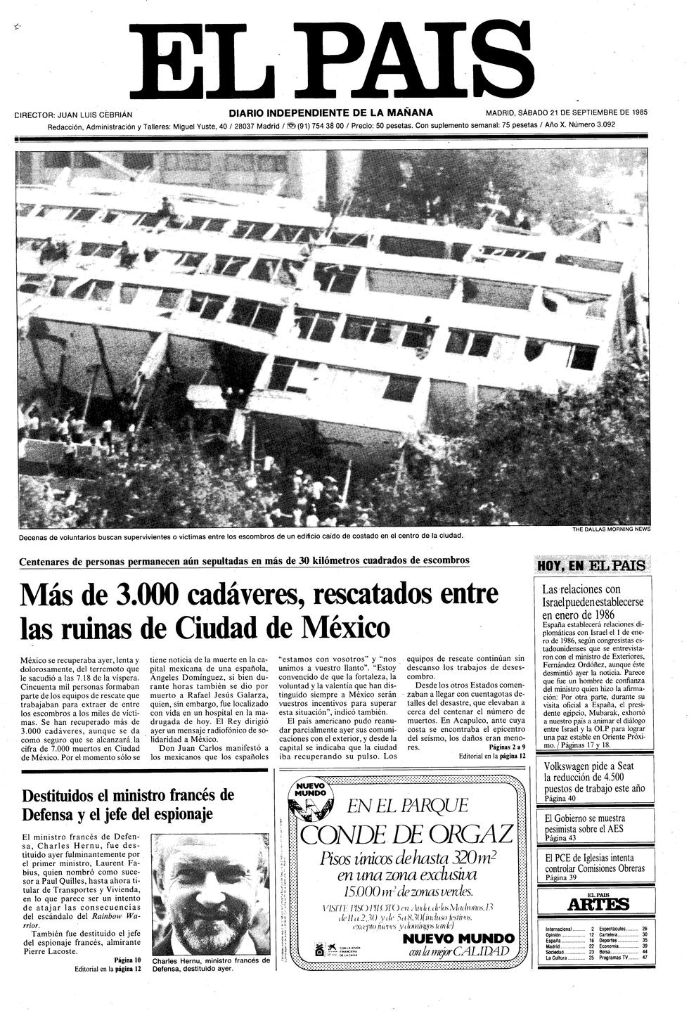 el país temblor 1985