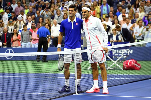 September 13, 2015 - Novak Djokovic and Roger Federer pose before the men's singles final match during the 2015 US Open at the USTA Billie Jean King National Tennis Center in Flushing, NY. (USTA/Ned Dishman)