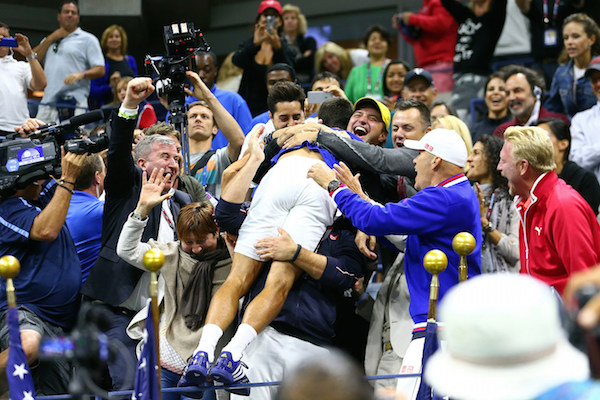 September 13, 2015 - Novak Djokovic celebrates after defeating Roger Federer (not pictured) in the men's singles final match during the 2015 US Open at the USTA Billie Jean King National Tennis Center in Flushing, NY. (USTA/Ned Dishman)