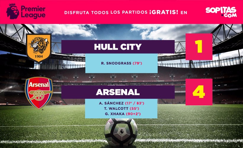 El Hull City le complicó las cosas al Arsenal pero perdieron 1-4