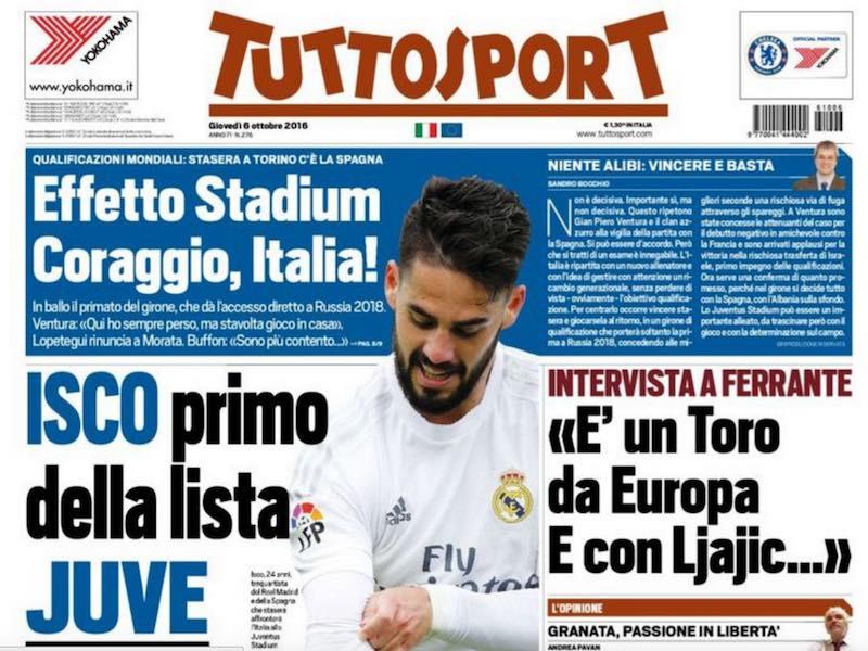 Isco para Juventus en Tuttosport