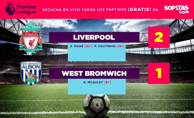 Liverpool superó al West Bromwich 2-1