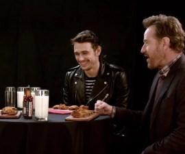 Bryan Cranston y James Franco comiendo alitas picantes