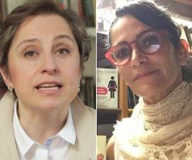Las periodistas Carmen Aristegui y Lydia Cacho