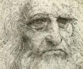 Detalle de autorretrato de Leonardo da Vinci