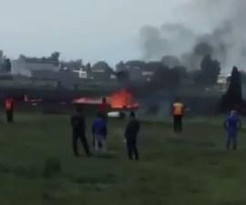 Aeronave Learjet se desploma en Toluca
