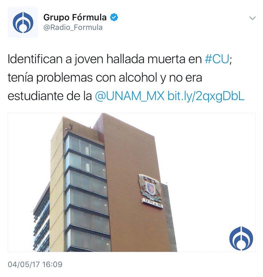 Radiofórmula revictimiza a joven muerta en la UNAM