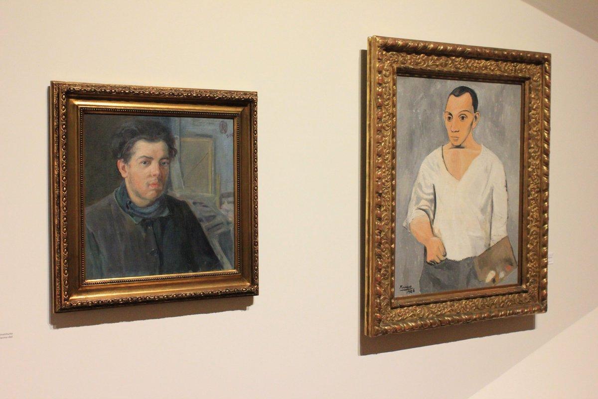Autorretratos de Diego Rivera y Pablo Picasso (ambos de 1906)
