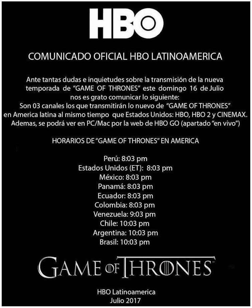 Comunicado de HBO