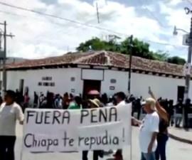 manifestación contra EPN en Chiapa de Corzo