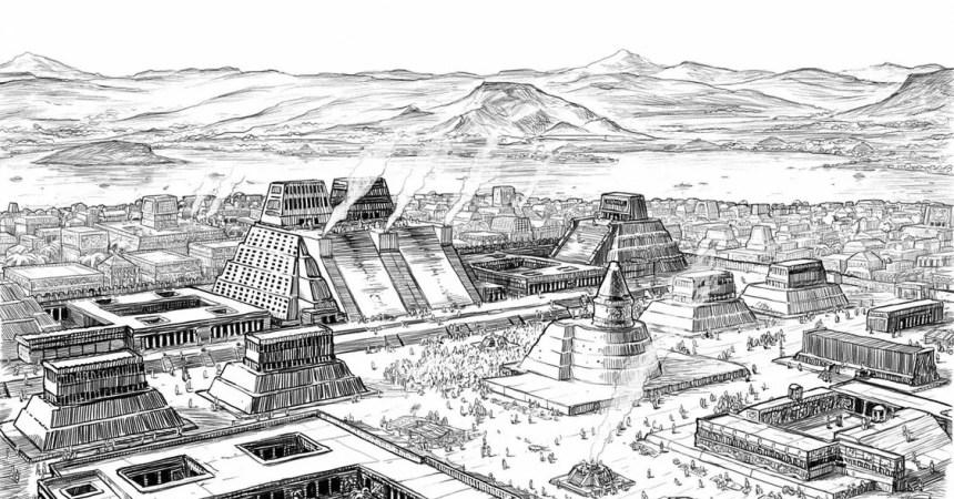 Dibujo de Tenochtitlan