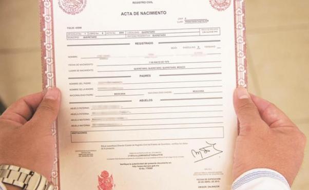 documentos: acta de nacimiento