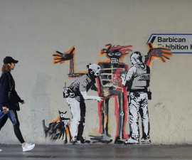 graffiti de Banksy en honor a Basquiat