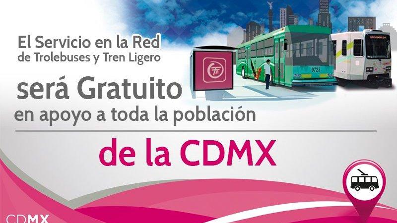 Tren Ligero y Trolebús darán servicio gratuito en la CDMX