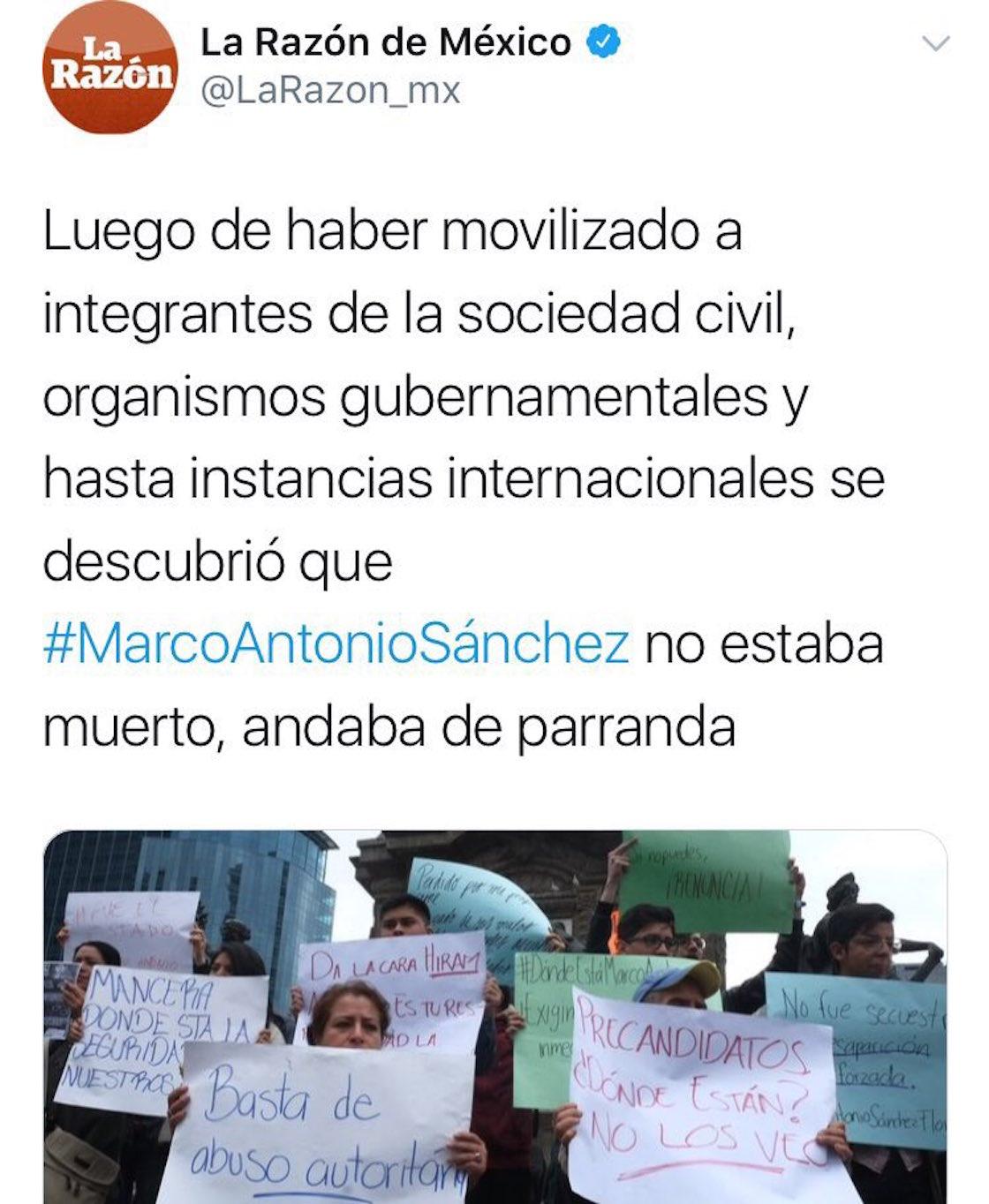 """El diario La Razón publicó que el joven Marco Antonio Sánchez Flores """"no estaba muerto, andaba de parranda"""""""