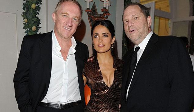 Salma Hayek, François-Henri Pinault y Harvey Weinstein en la fiesta de Vanity Fair y Gucci en Cannes en 2010.