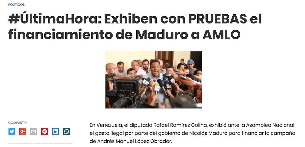 Nota falsa supuesto apoyo de Maduro a AMLO