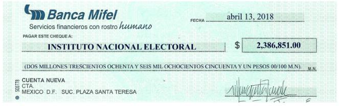 cheque INE Margarita Zavala