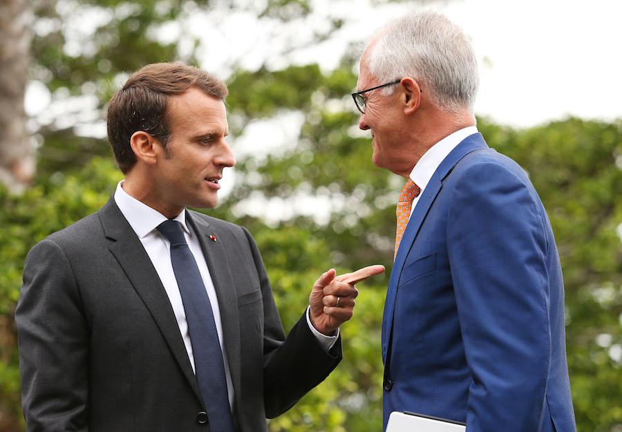 Emmanuel Macron y el primer Ministro de Australia